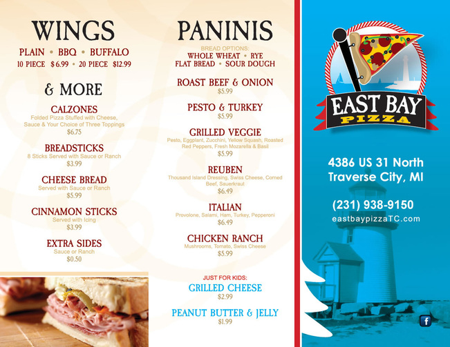 Wing and Paninis Menu | East Bay Pizza, Traverse City Michigan
